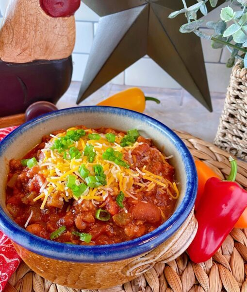 Slow cooker chili in a bowl