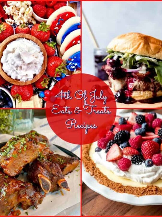 Collage of Patriotic Recipes four in total, a hamburger, party platter with desserts, ribs, and a lemon cream pie with berries on top.