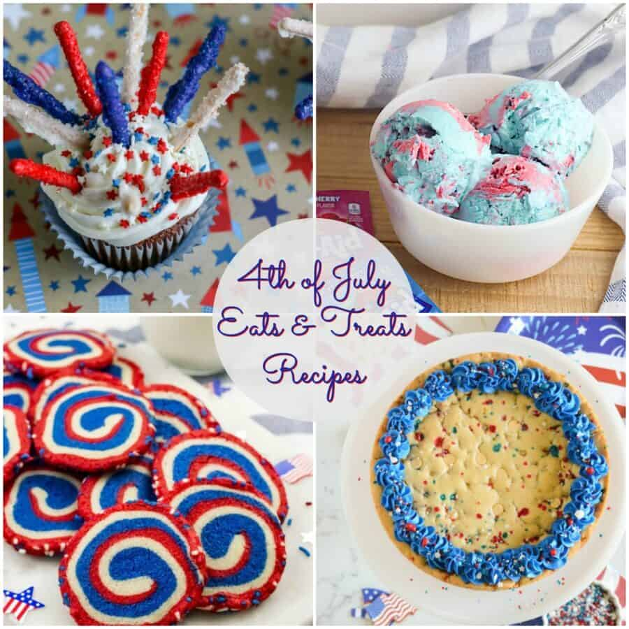 Collage of 4 photos of 4th of july recipes. upper right corner a cupcake with pretzel sparklers, left hand upper corner red, white and blue koolaid icecream, lower right corner large chocolate chip cookie with frosting, lower left corner red, white and blue pin wheel cookies.