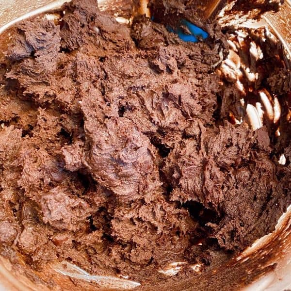 Cookie dough batter mixed in mixing bowl.