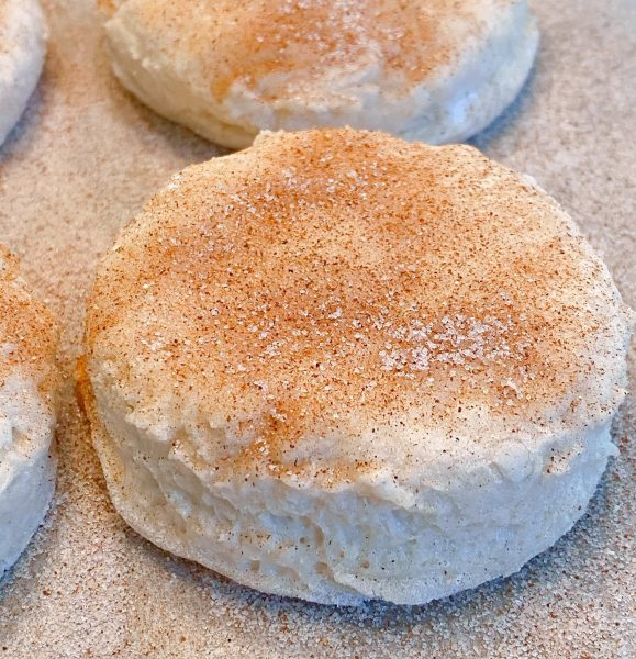 Each biscuit topped with cinnamon sugar before baking.
