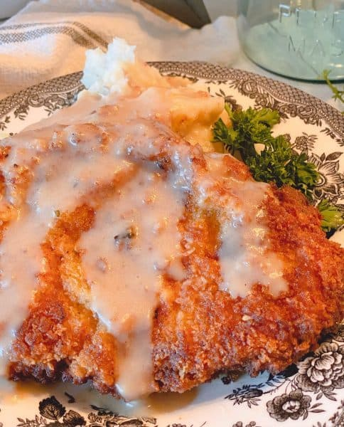 Chicken Fried Pork Cube Steak with creamy gravy