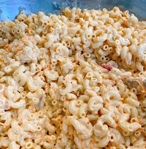 Traditional Hawaiian Pasta salad mixed together in a large bowl ready to be chilled.