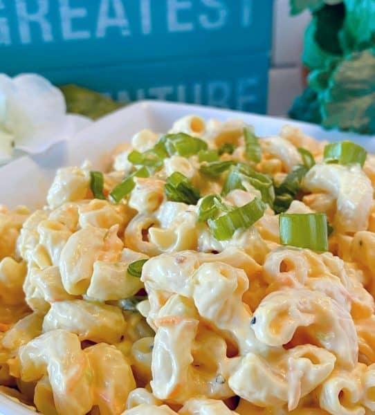 Close up photo of creamy traditional hawaiian pasta salad