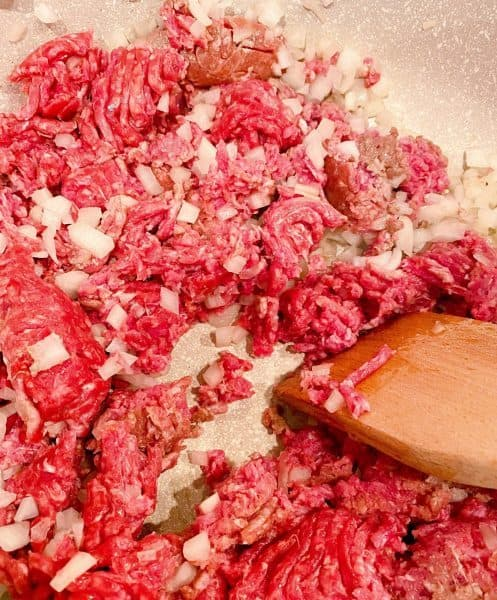 browning onion and ground beef in a large stock pot over medium-high heat.