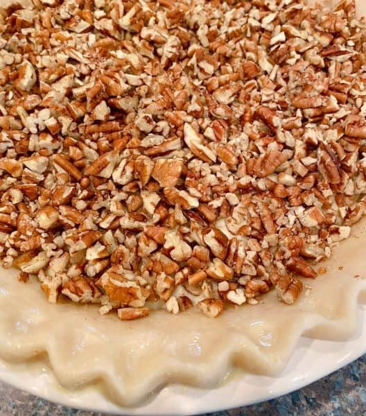 Pie covered in chopped pecans.