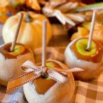 Apple Pie Caramel Apples with fall decor