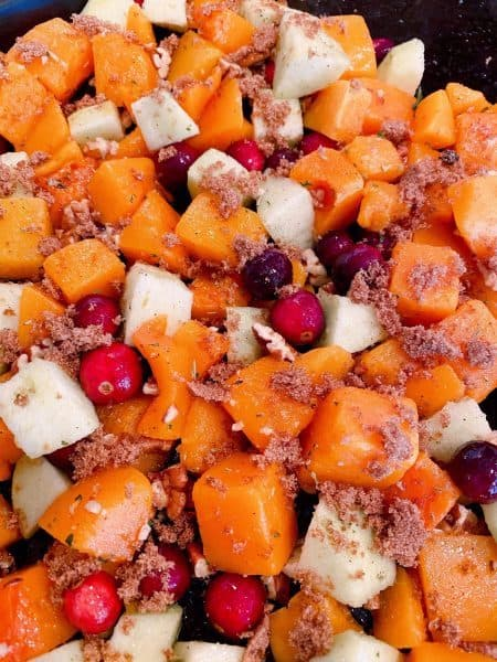 All the Butternut Squash ingredients on a baking sheet with brown sugar.
