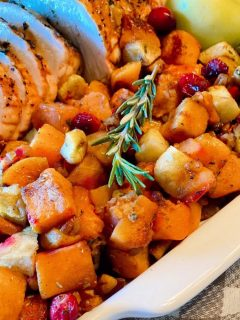 Platter filled with Butternut Squash Medley and Turkey.