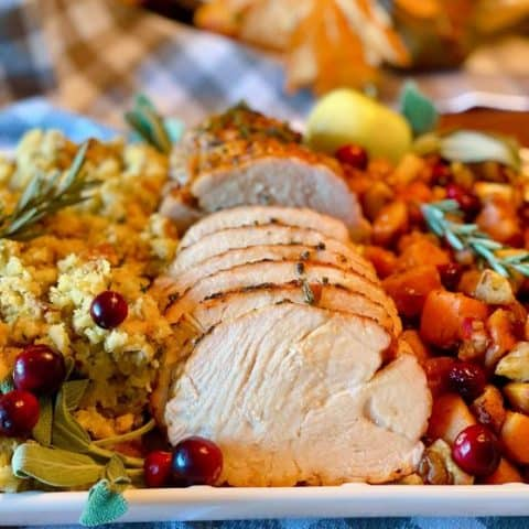 Full Thanksgiving Turkey Dinner on a platter.