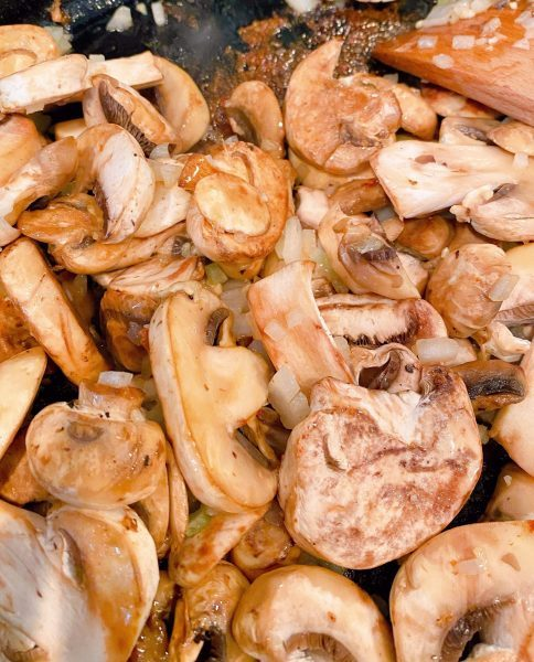 Mushrooms, onion, and garlic in skillet