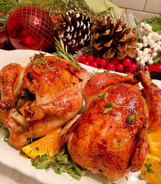 Cornish Game hens on a serving platter