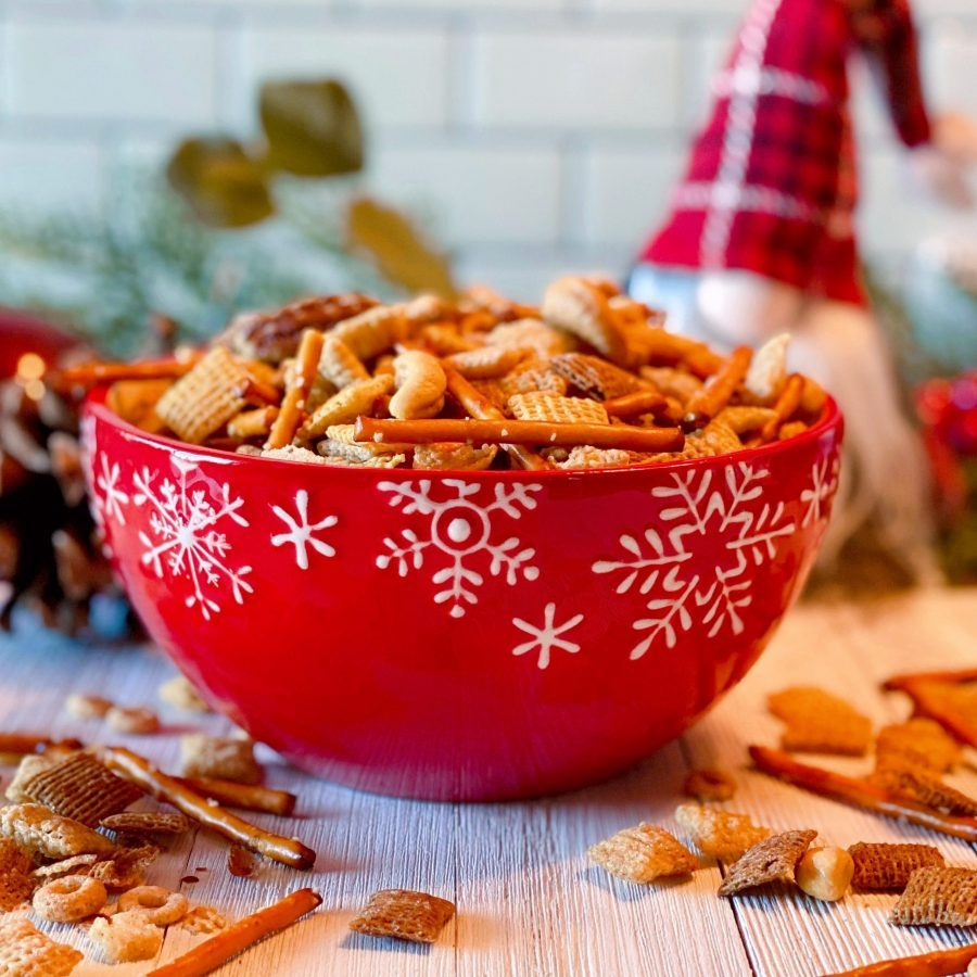 Red Bowl full of Scrabble Chex Mix