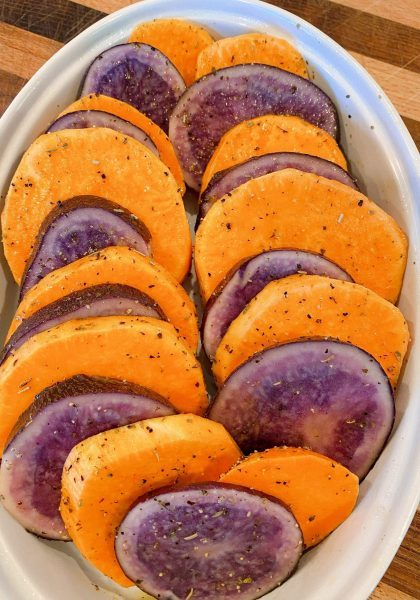 Placing potatoes in a casserole dish