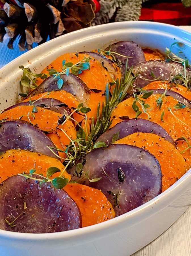 Casserole dish filled with Sweet Baked Potato Medley