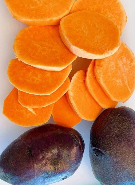 Sweet potato peeled and sliced