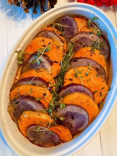 Sweet Potato Medley in a casserole dish