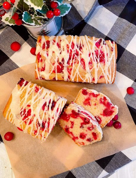 Cranberry Eggnog Bread on parchment paper