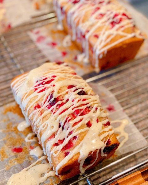 Cranberry Eggnog bread with glaze added