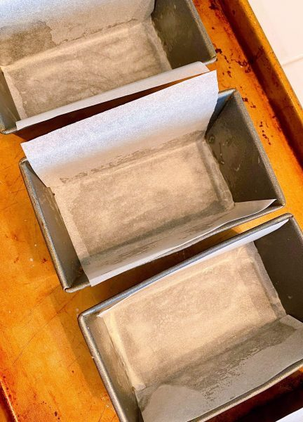 mini loaf pans lined with parchment paper