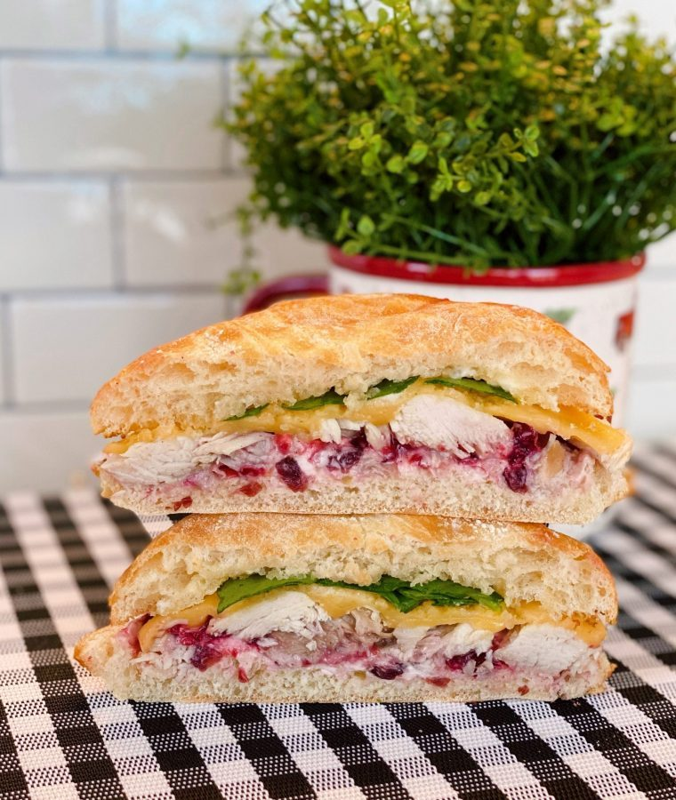 Hot Cranberry Turkey Sandwich cut in half.