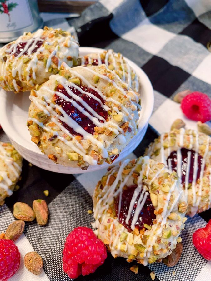 Raspberry Pistachio Thumbprint Cookies