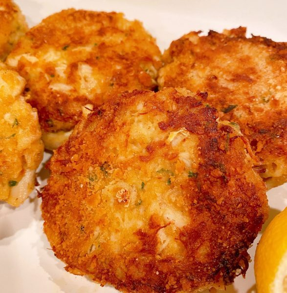 Crab Cakes on a plate after cooking