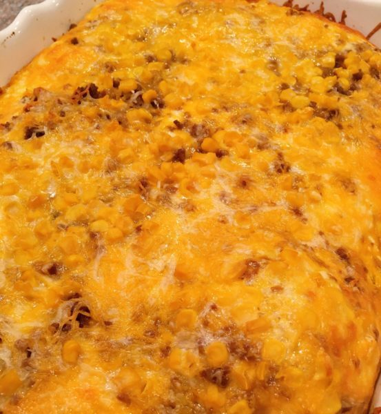 Baked Mexican Lasagna resting after baking.
