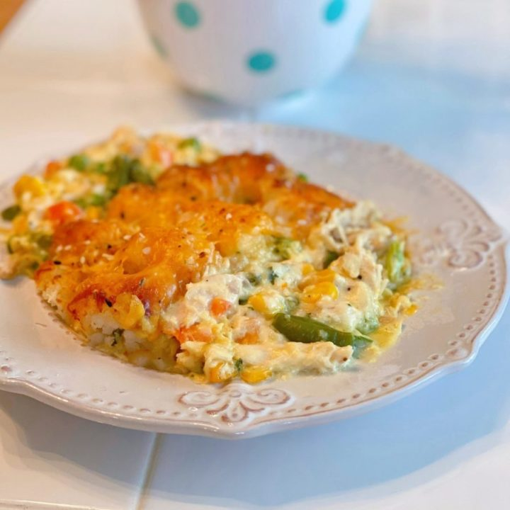 Tater Tot Chicken Pot Pie serving on a plate