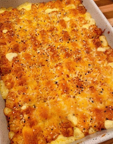 Casserole fresh out of the oven with golden tater tots