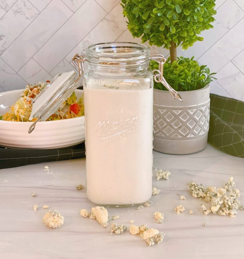 Homemade Blue Cheese Dressing in a jar