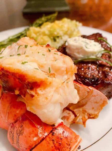Air Fryer Lobster on a plate with a filet mignon.