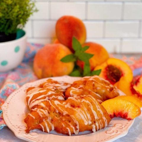 Fresh Peach Fritters on a plate