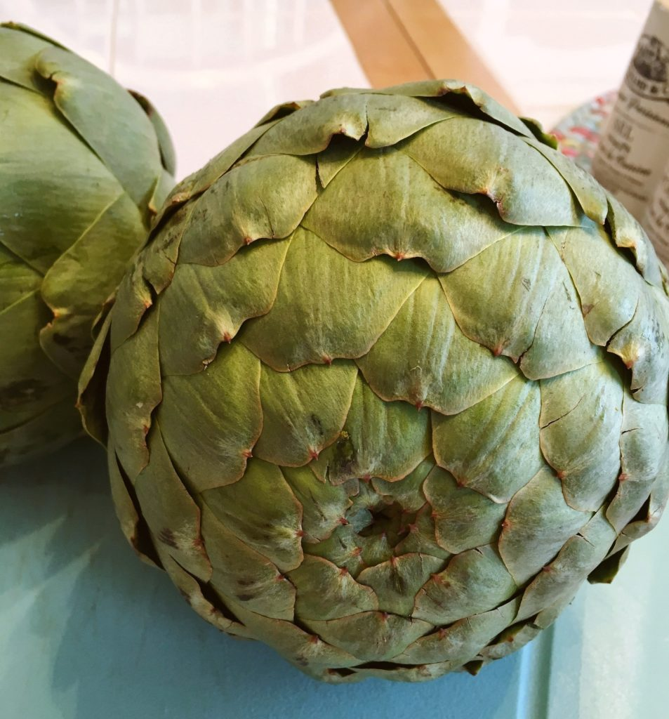 Two artichokes before being prepped for steaming.
