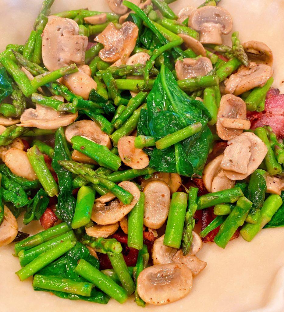 Spread asparagus, mushroom, onions, spinach inside pie crust on top of bacon.