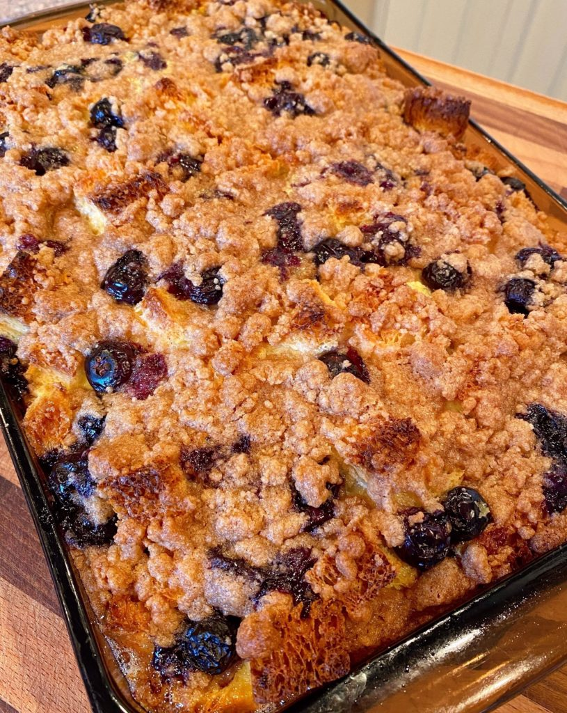 Baked 9 x 13 pan of Blueberry French Toast Casserole