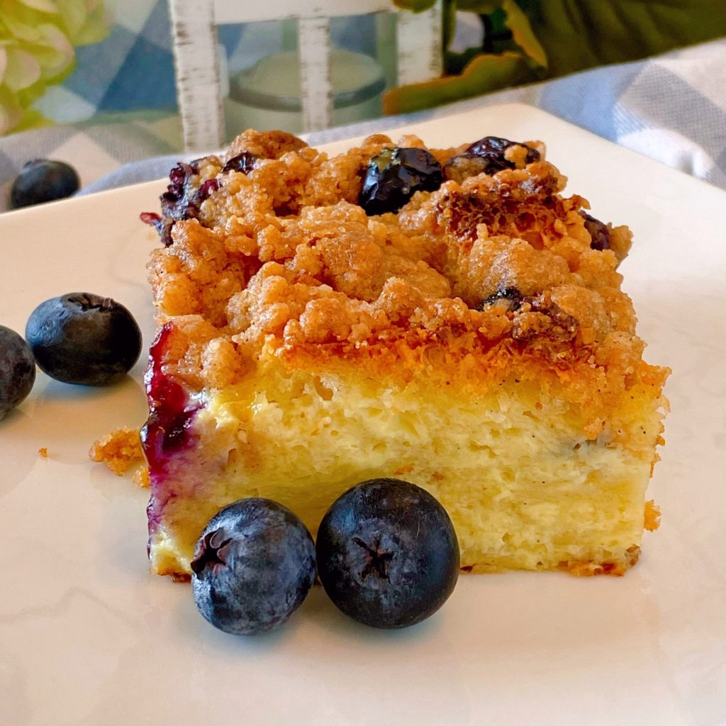 Piece of Blueberry French Toast Bake without syrup.