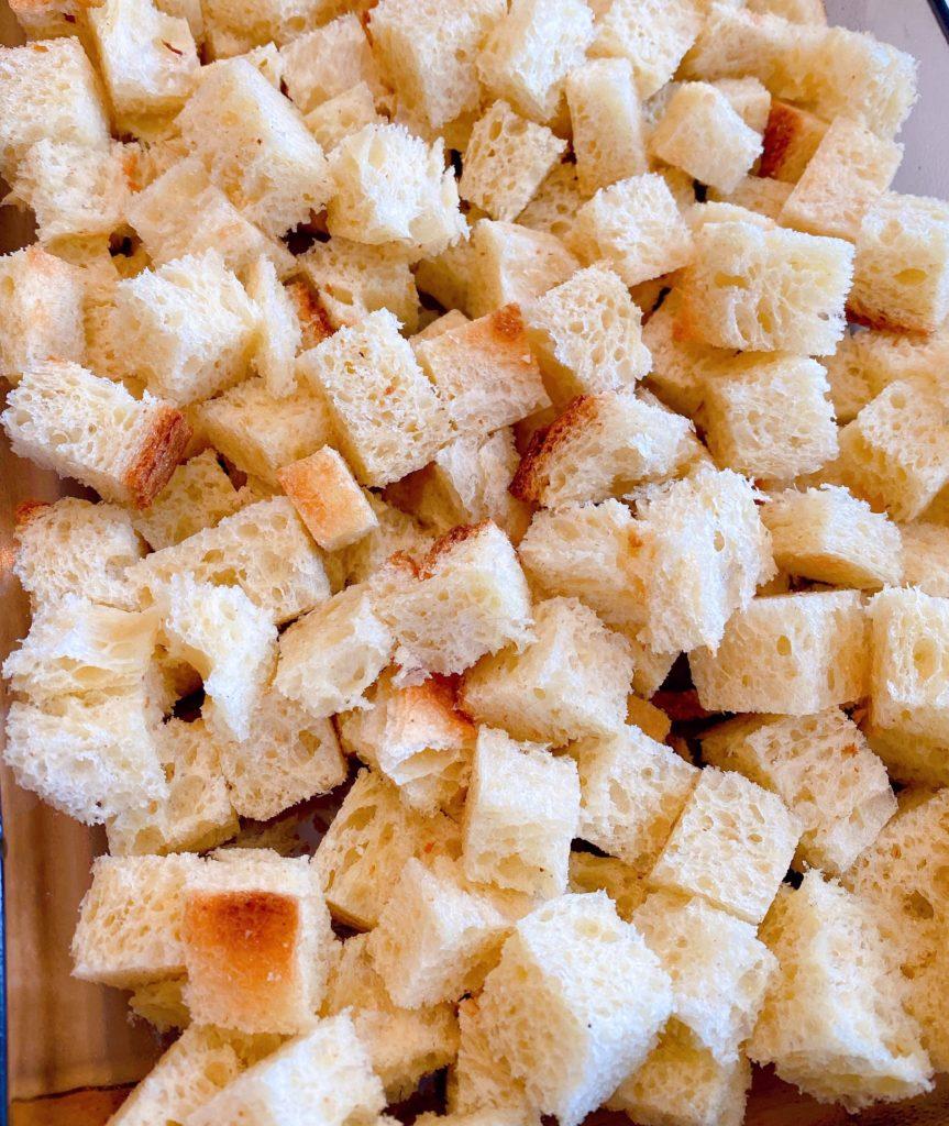 Bread cut into 1/2 inch cubes
