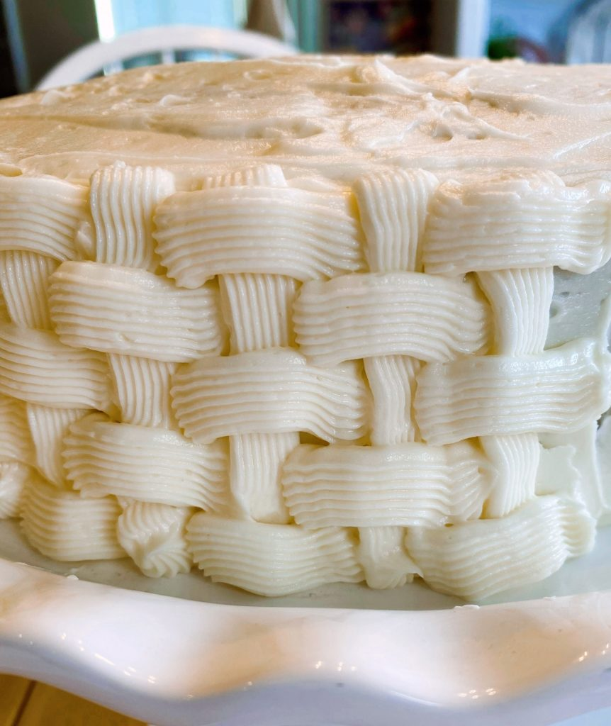 Basket weave on side of cake.