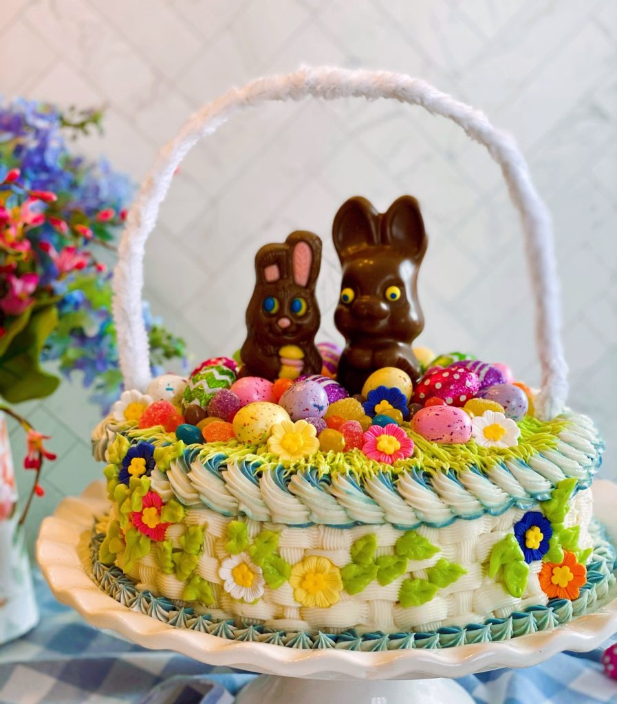 Easter Basket Cake on a cake plate.