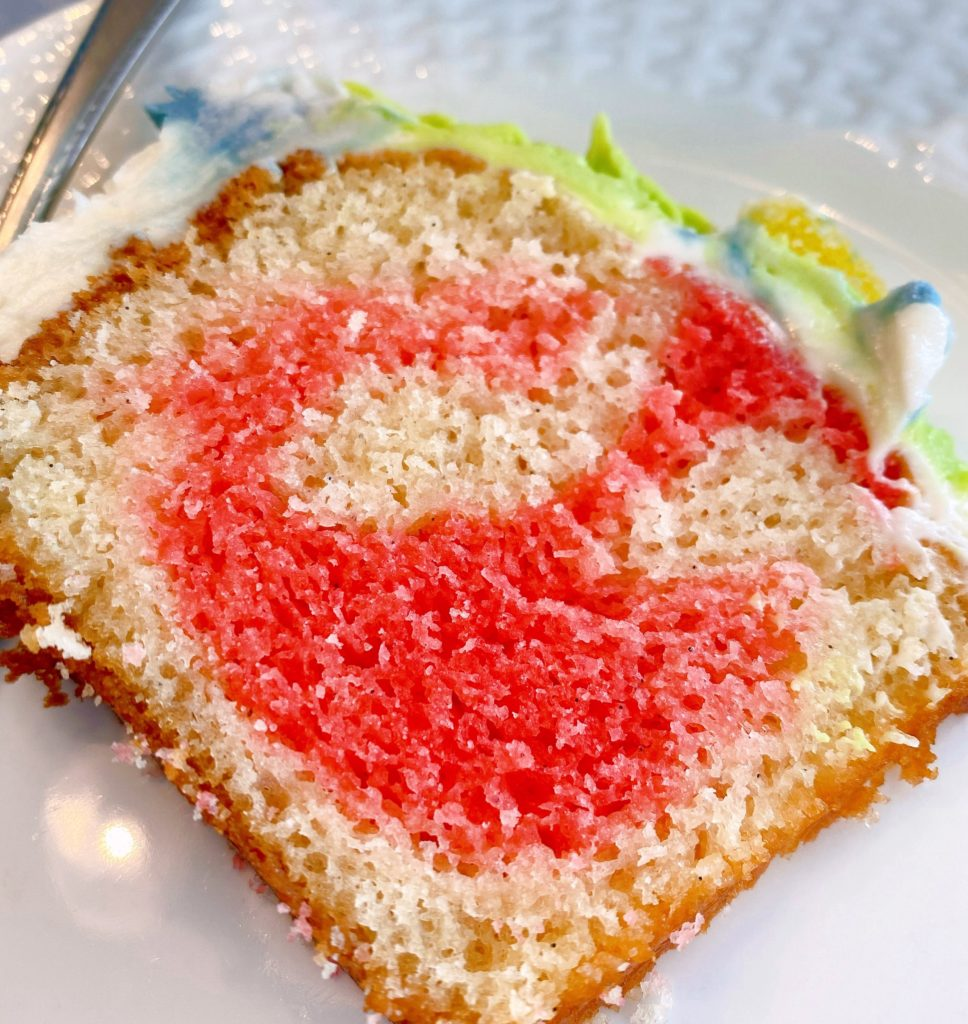 Cake slice on a plate.