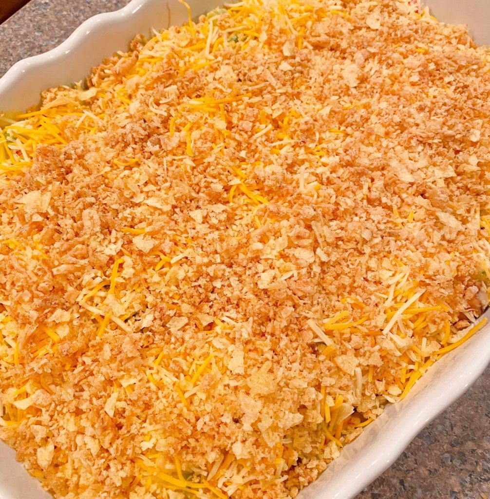 Casserole sprinkled with crumbled potato chips.