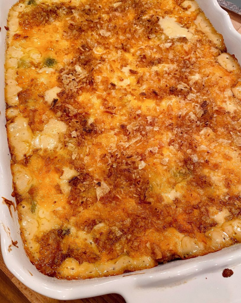 Baked casserole on counter top cooling.