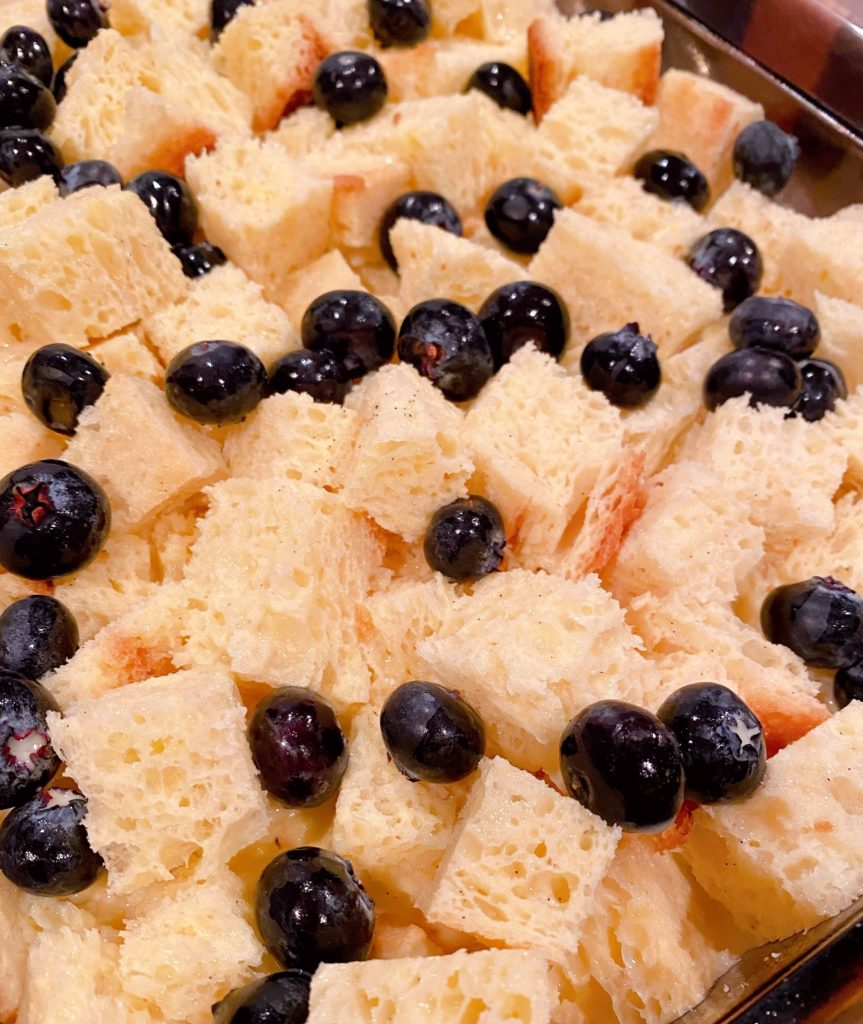 French Toast Bread cubes topped with fresh blueberries.