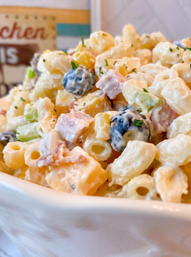 Close up photo of Creamy Summer Macaroni Salad.