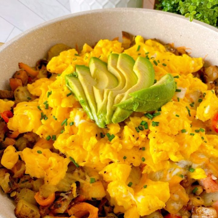 Country Skillet Breakfast Scramble in a skillet o
