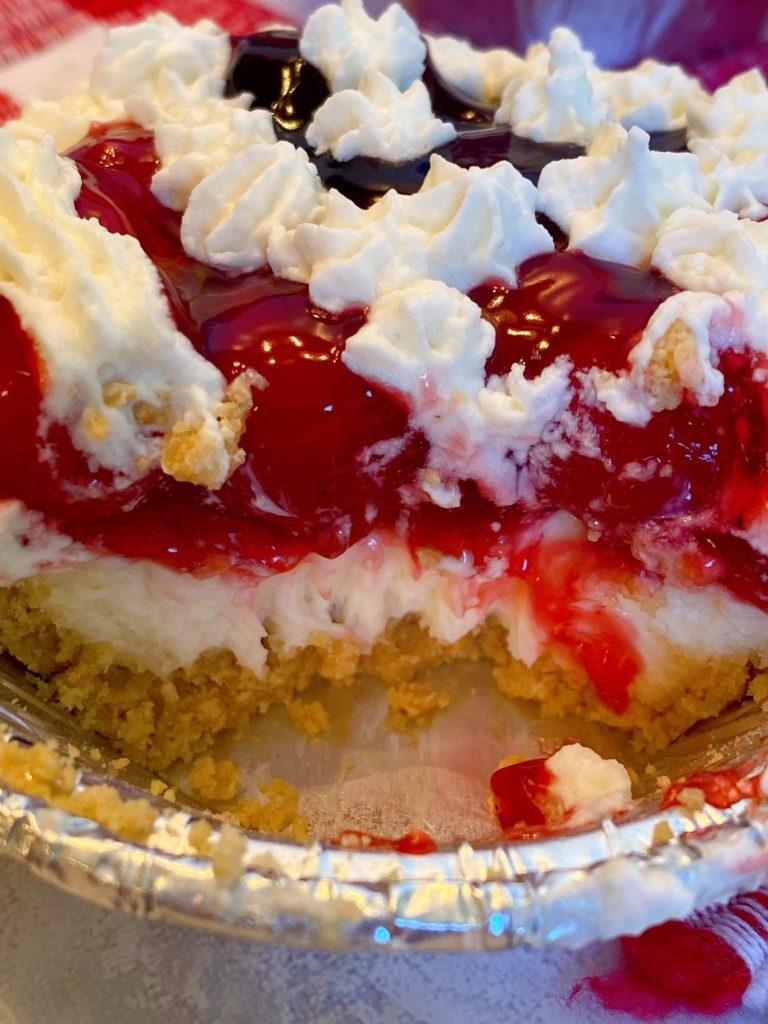 Inside of no-bake cream cheese mini pies.