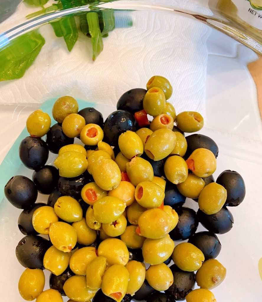 Olives in a large bowl.