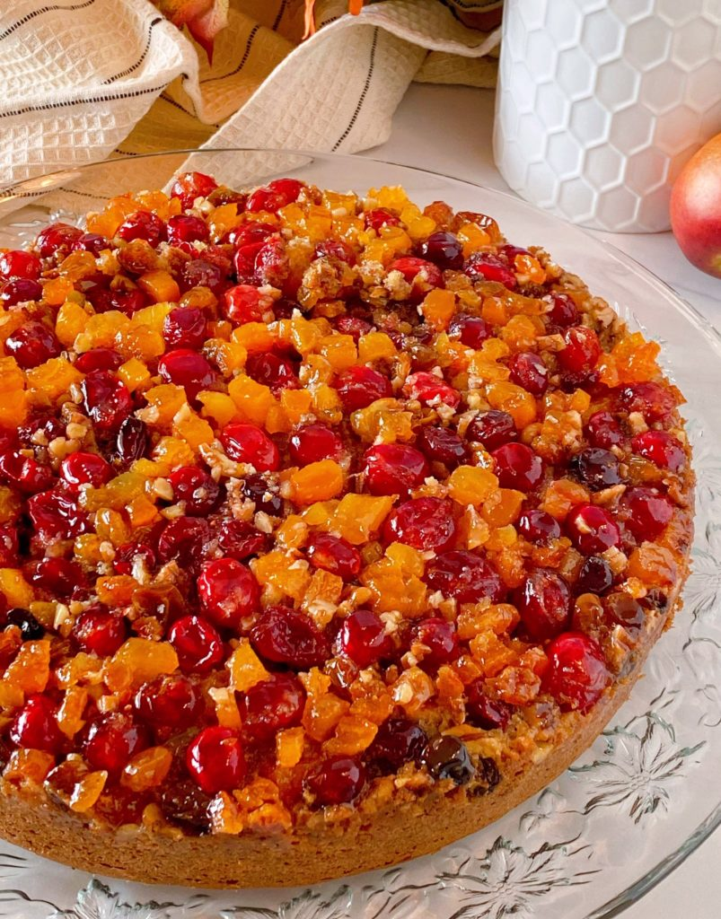 Cranberry Upside Down Coffee Cake upclose.