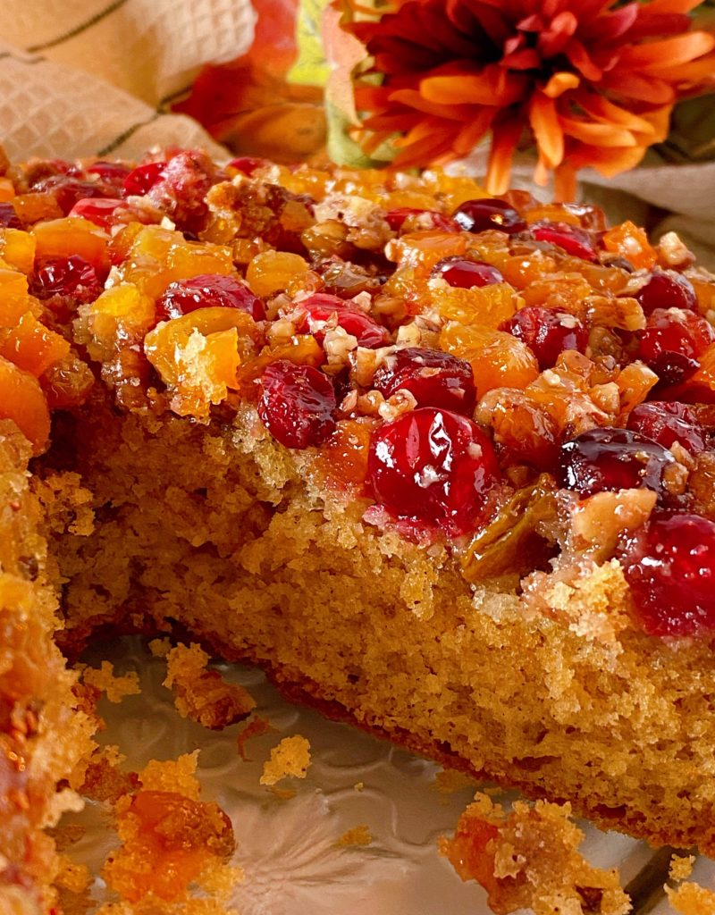 Up close photo of inside of cranberry cake.